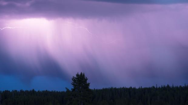 a rain storm above tree line