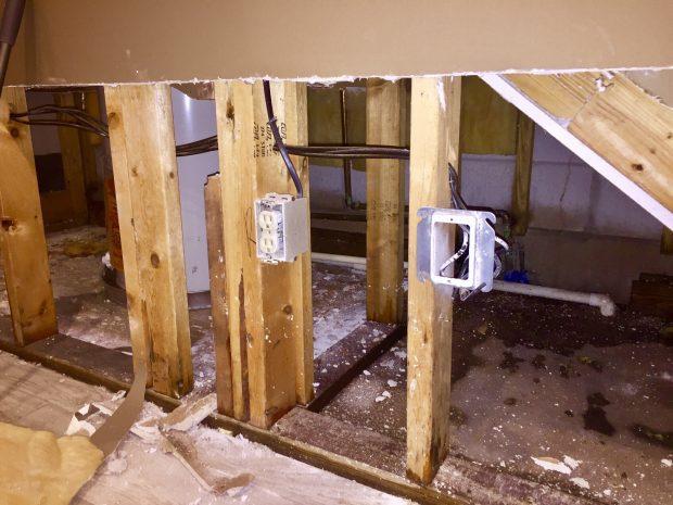 water damage to a basement